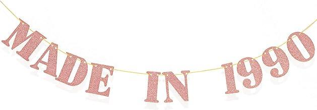 Pancarta Made in 1990, Pancarta Divertida de Cumpleaños 30 Banner de Aniversario, Banner de Papel de Brillo para Suministros Decoraciones de Fiesta de Cumpleaños 30 de Mujeres/Hombres (Oro Rosa)