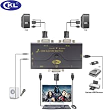 VGA KVM Switch 2 Puertos + Kits de Cable + USB 2.0 HUB Soporte de Audio Micrófono 2048 * 1536 450MHz, 2 computadoras Compartiendo PC Monitor Teclado Mouse Impresora Escáner Jump Drive CKL-21UA