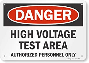 "SmartSign ""Danger - High Voltage Test Area, Authorized Personnel Only"" Sign 