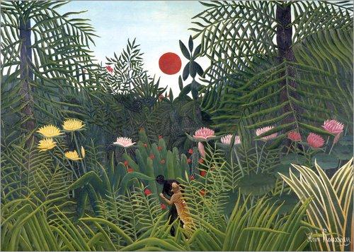 Posterlounge Lienzo 80 x 60 cm: Jungle Landscape with Setting Sun de Henri Rousseau/ARTOTHEK - Cuadro Terminado, Cuadro sobre Bastidor, lámina terminada sobre Lienzo auténtico, impresión en Lienzo