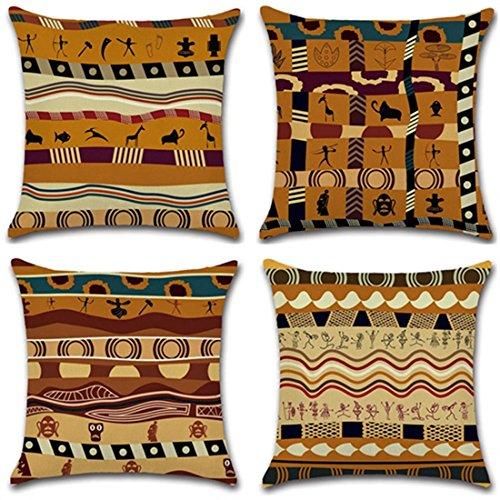 Lot de 4 housses de coussin décoratives - Motif fleurs ethnique africain ancien - En coton et lin mélangé - 45 cm x 45 cm - Durables - Pour la maison - Modèle 53