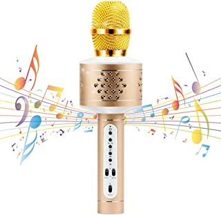 Wireless Bluetooth Karaoke Microphone, MIANOVA Bluetooth Microphone Machine for Kids , Portable Microphone and Speaker System for Home KTV Outdoor Family Party Music,for iOS & Android Smartphon (Gold)