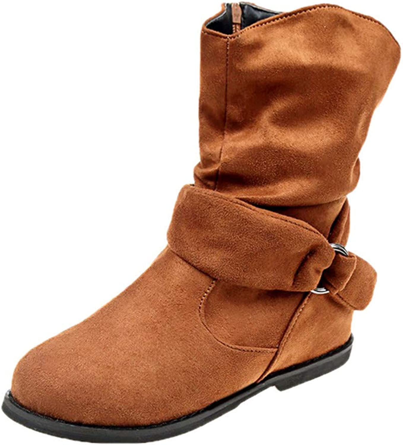 SUNNY Store Lace Up Suede Ankle Boots Women Leisure Solid Round Toe Flat shoes(Brown-7.5 M US)