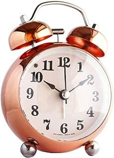 Modern Metal Rose Gold Alarm Clock Silent Non-ticking Decorative Battery Operated Desktop Clock, Table Clock for Living Room, Bathroom Decor Home Office Back to School Kids Children's Loud Alarm Clock