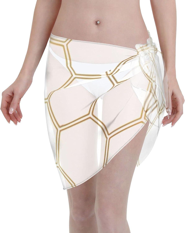 2053 pants Honeycomb - Gold #170 Women Chiffon Beach Cover ups Beach Swimsuit Wrap Skirt wrap Bathing Suits for Women