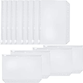 Oopsu 20 PCS A5 Size Binder Pockets Binder Zipper Folders for 6- Ring Notebook Binder Pouch Document Filing Bags