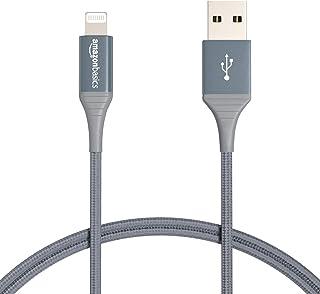 Amazonベーシック ライトニングケーブル ダブルナイロン編組 USB MFi認証済 iPhone充電ケーブル アドバンスドコレクション ダークグレー 0.9m 2本入