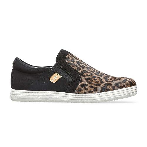 cf57ebf72c Van Dal Grana Leather Slip on Trainer Pumps - Grey Leopard Print