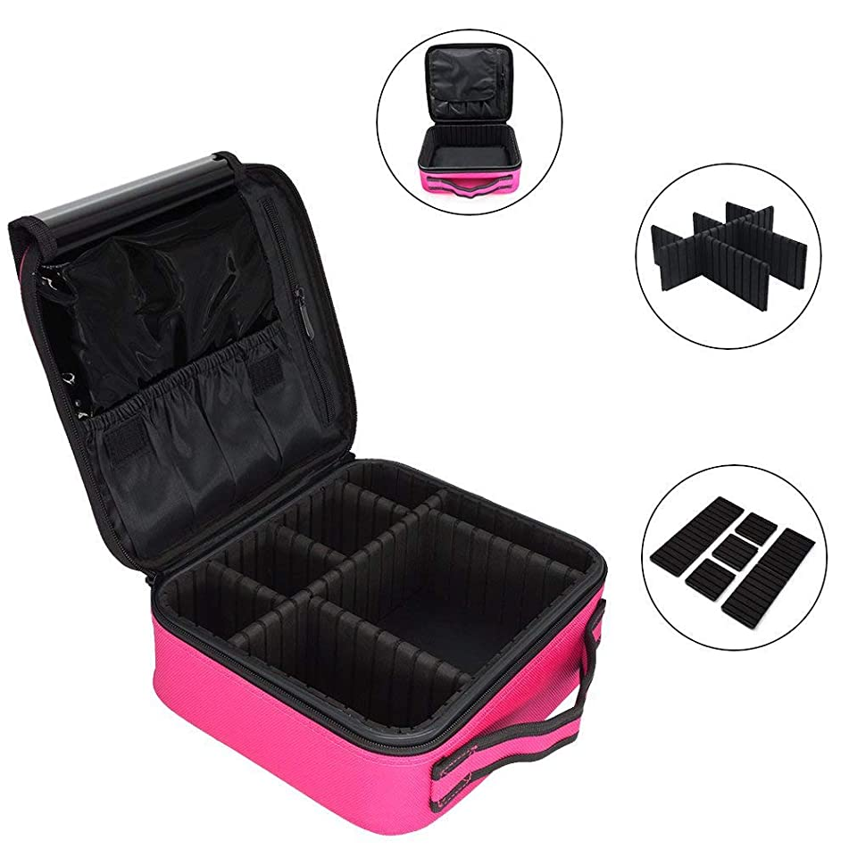 Royal Brands Travel Makeup Organizer Train Case Hobby Organizer Professional Cosmetic Makeup Bag Organizer Accessories Case Tools (Small (9.5x9x10), Pink)