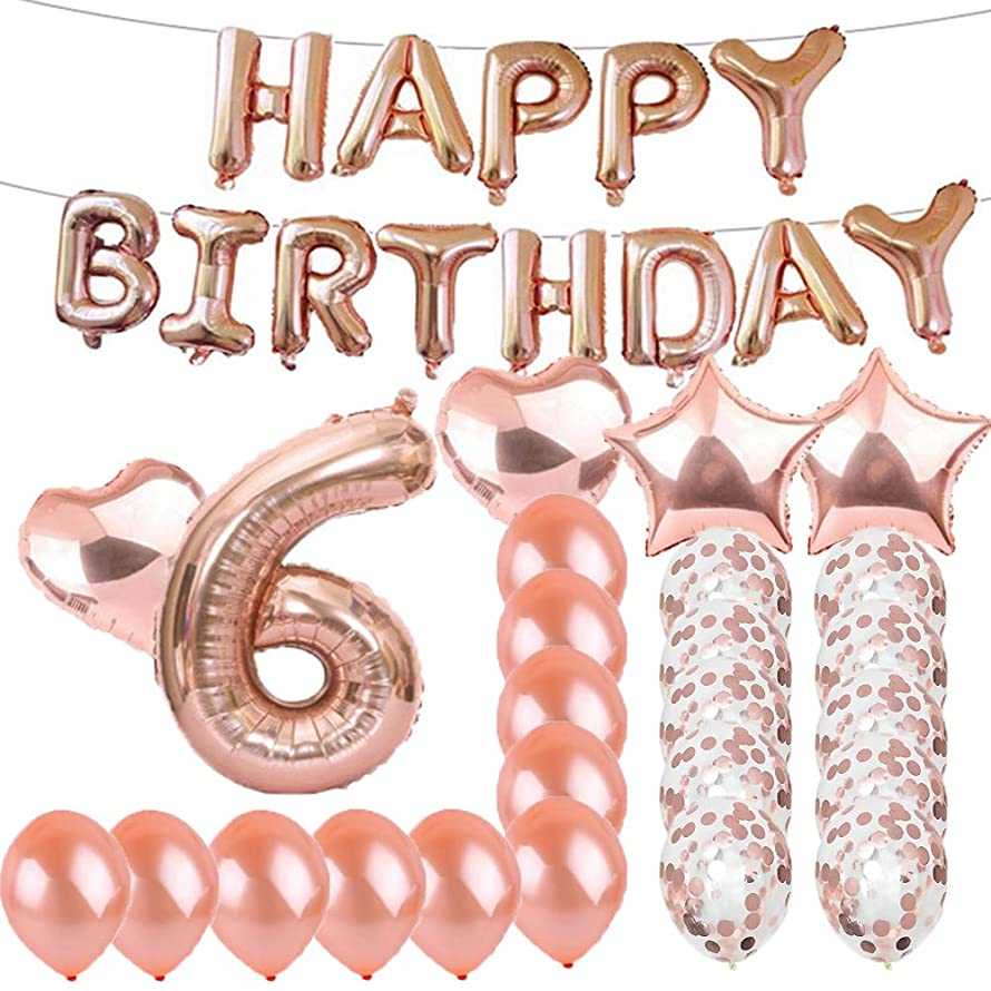 Sweet 6th Birthday Decorations Party Supplies,Rose Gold Number 6 Balloons,6th Foil Mylar Balloons Latex Balloon Decoration,Great 6th Birthday Gifts for Girls,Women,Men,Photo Props
