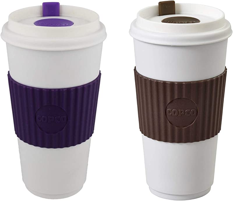 Copco To Go 16 Oz BPA Free Plastic Travel Tumbler With Slide Open Spillproof Lid 2 Pack Brown And Purple