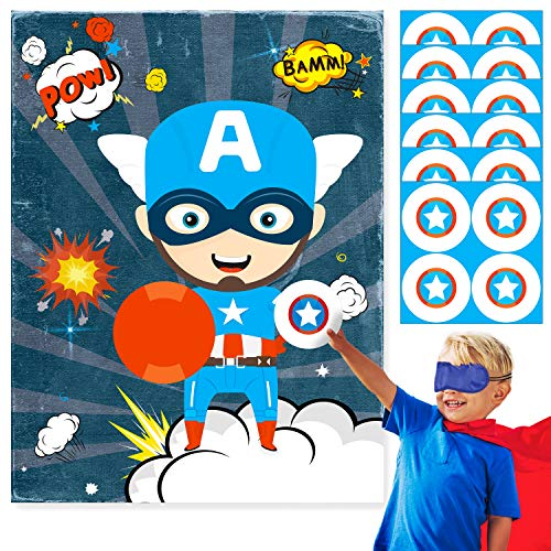 TICIAGA Superhero Theme Party Game for Kids, Pin The America Star On Captain, Large Captain Poster And 24pcs America Star Stickers for Hero Theme Birthday Party Decoration, Captain Hero Gift for Boys