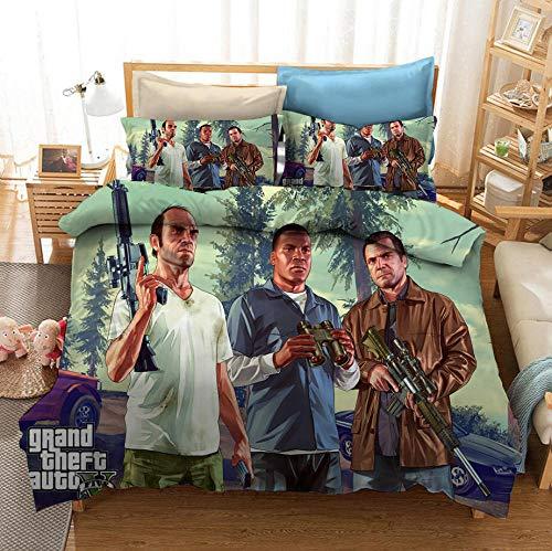 Grand Theft Auto Games funda nórdica 3D juego de ropa de cama para cama doble individual, ropa de cama suave cómoda y duradera, textiles para el hogar para adultos adolescentes-D_140x210cm (2 pcs)