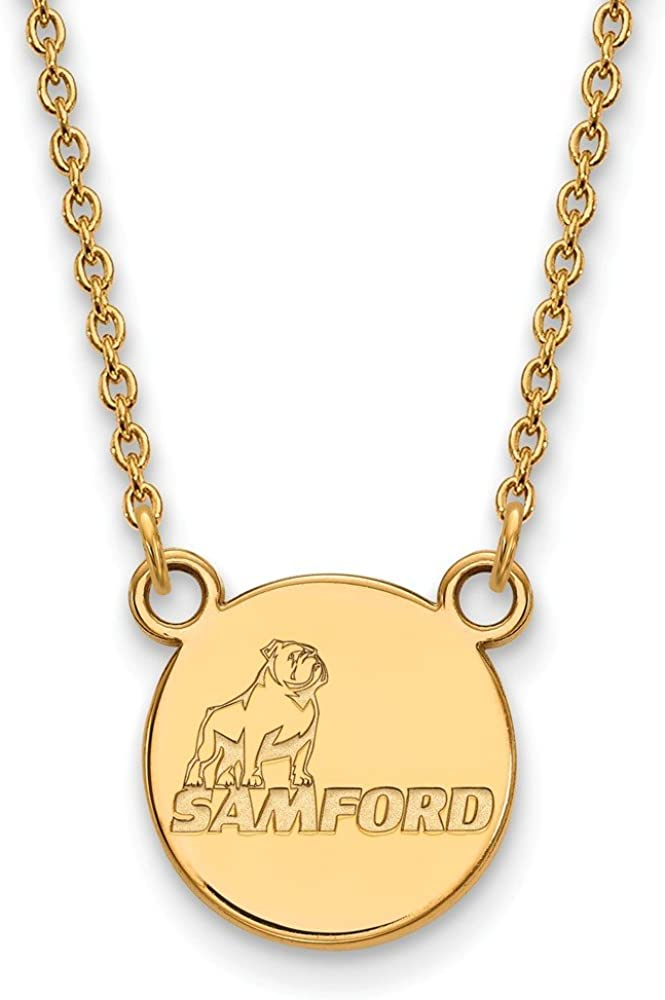 Width = 21mm 925 Sterling Silver Yellow Gold-Plated Official Samford University Small Pendant Necklace Charm Chain with Secure Lobster Lock Clasp