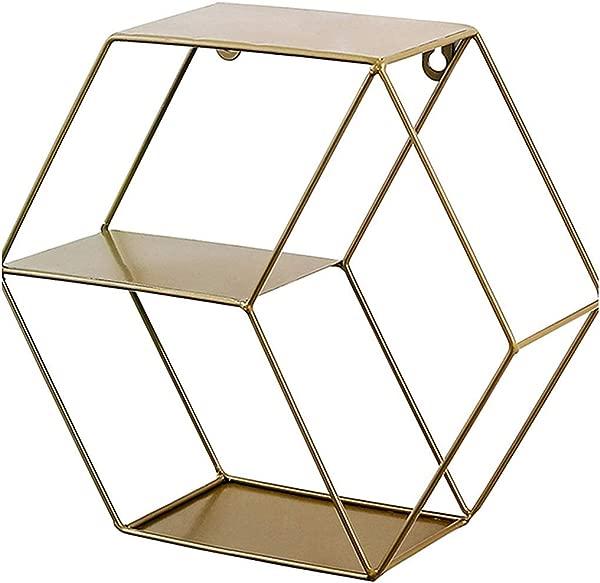 Butyi 金属六角形墙上置物架北欧铁艺六角形壁挂置物架适合客厅卧室壁饰金色