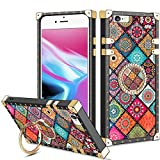Vofolen for iPhone 6S Plus Case iPhone 6 Plus Case Ring Holder Kickstand Exotic Colorful Square Protective Soft Shell Fold-able Clip Anti-Slip Finger Loop Cover for iPhone 6+ 6S+ 5.5 (Mandala Flower)