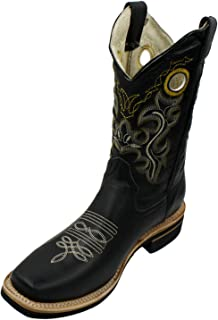 Men Genuine Cowhide Leather Square Toe Western Cowboy Boots Black 9