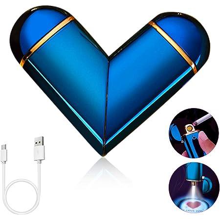 ASANMU Accendino USB, Accendino Elettrico USB Ricaricabile Antivento Elettronico Accendino, con Cavo USB e Confezione Regalo, I Love You Regalo di San Valentino per Uomo, Regalo Compleanno per Marito