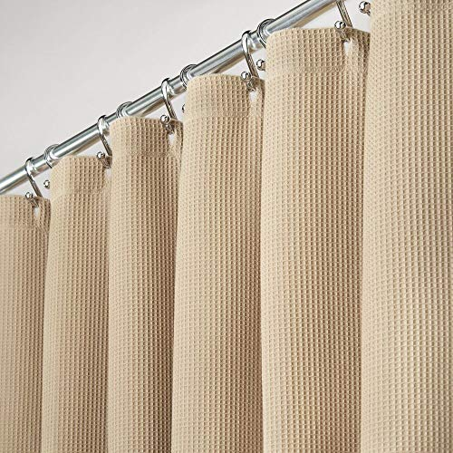 mDesign Duschvorhang aus 100% Baumwolle – schöne, strukturierte Duschgardine – pflegeleichter Badewannenvorhang – beige