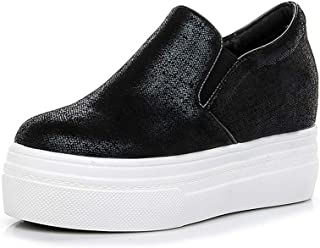 Women's Shoes New 2019 Leather Sneakers Loafers & Slip-Ons Low-Top Casual Shoes Athletic Shoes Fitness & Cross Training Shoes,Black,39