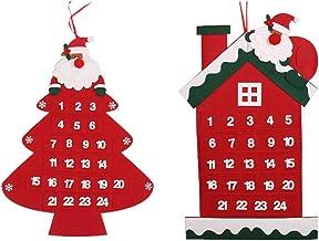 CLISPEED 2pcs Christmas Tree Advent Calendar House Felt 2021 Countdown Calendar with 24 Pockets Reusable Seasonal Fabric W...