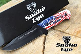 Snake Eye Tactical Fixed Blade USA Flag Design Full Tang Handle Knife Hunting Camping Fishing Self Defense Sharp Blade