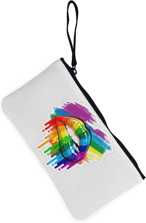AORRUAM Cute Rainbow Lips Canvas Coin Purse,Canvas Zipper Pencil Cases,Canvas Change Purse Pouch Mini Wallet Coin Bag