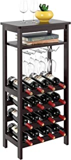 Homfa Bamboo Wine Rack Free Standing Wine Holder Display Shelves with Glass Holder Rack, 16 Bottles Stackable Capacity for...