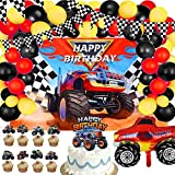 42 Piece Monster Truck Birthday Party Supplies Happy Birthday Monster Truck Background Triangle Checkered Flags Truck Foil Balloons Cute Monster Truck Cupcake Toppers