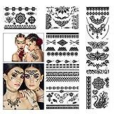 PATAZOK 8PCS, Pegatinas de Tatuaje Temporal Negra, Etiquetas Engomadas del Tatuaje Sexsy, Tatuajes Falsos a Prueba de Agua, Flor, Indio, para Boda,Fiesta,Carnaval a Mujeres, Adultos, Niños