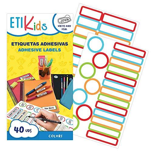 ETIKids 40 Etichette adesive multiuso con lamina protettiva, in 4 formati diversi. (COLOR) Ideali per matite, pennarelli e tutto il materiale scolastico.