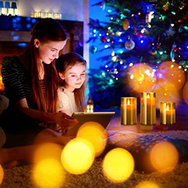 Led Flameless Candles, Battery Operated Flickering Candles Pillar Real Wax Moving Flame Electric Candle Sets Gold Glass with