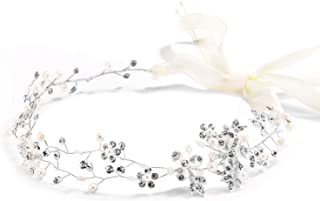 Mariell Freshwater Pearl Crystal Wedding Headband Hair Vine with Ribbons