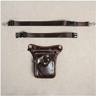 Men's Genuine Leather Travel Motorcycle Riding Messenger Shoulder Fanny Pack Waist Thigh Drop Leg Bag (Color : Brown, Size : S)