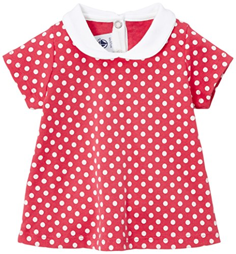 Petit Bateau - Chemise - À pois - Col rond - Manches courtes - Bébé fille - Multicolore (Gloss/Ecume) - FR : 6 mois (Taille fabricant : 6 mois)