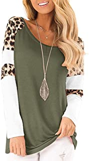 Women's Casual Cute Shirts Leopard Print Tops Basic Long Sleeve Soft Blouse Pullover Sweatshirt Gogoodgo