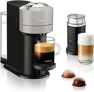 Krups XN911B Nespresso Vertuo Next Kaffekapselmaskin + Aeroccino Mjölkskummare, 1,7 l, Ljusgrå