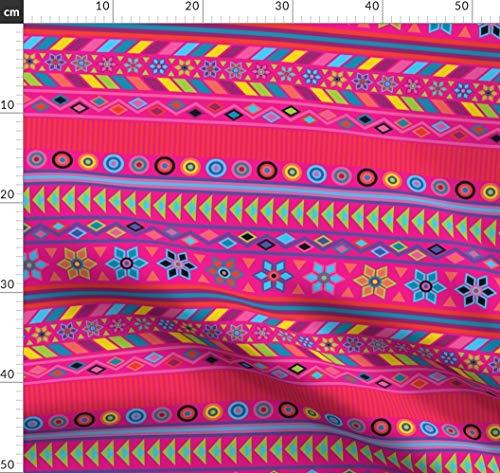 Pink, Aztekisch, Indigen, Peru, Geometrisch, Mexiko Stoffe - Individuell Bedruckt von Spoonflower - Design von Katebillingsley Gedruckt auf Baumwollstoff Klassik