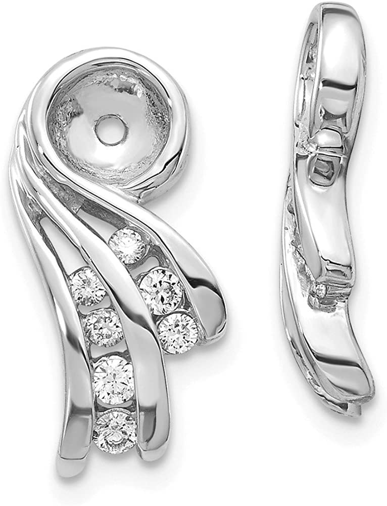 Solid 14k White Gold VS Unique Diamond Earring Jacket - 16mm x 8mm (.24 cttw.)