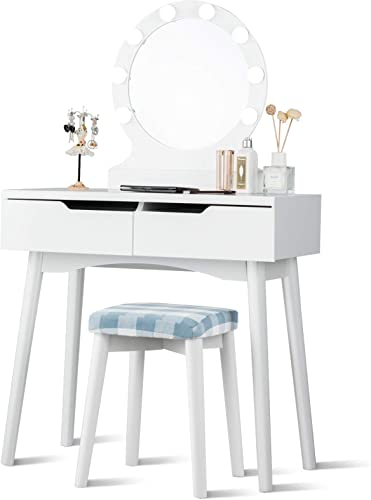new arrival Giantex Vanity Set with Round Lighted Mirror, Makeup online high quality Dressing Table with 8 Light Bulbs and Brightness Adjustable, Bedroom Makeup Table with Cushioned Stool and 2 Sliding Drawers (White) outlet sale