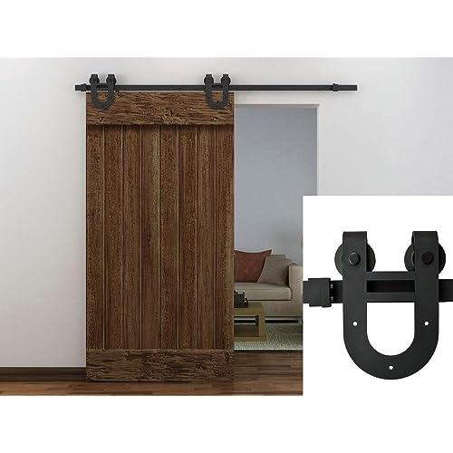 TMS SlidingDoorHardware-OJ-TSQ06-ORB Horseshoe Barn Wood Sliding Door  Hardware Track Set - Antique Sliding Door: Amazon.com