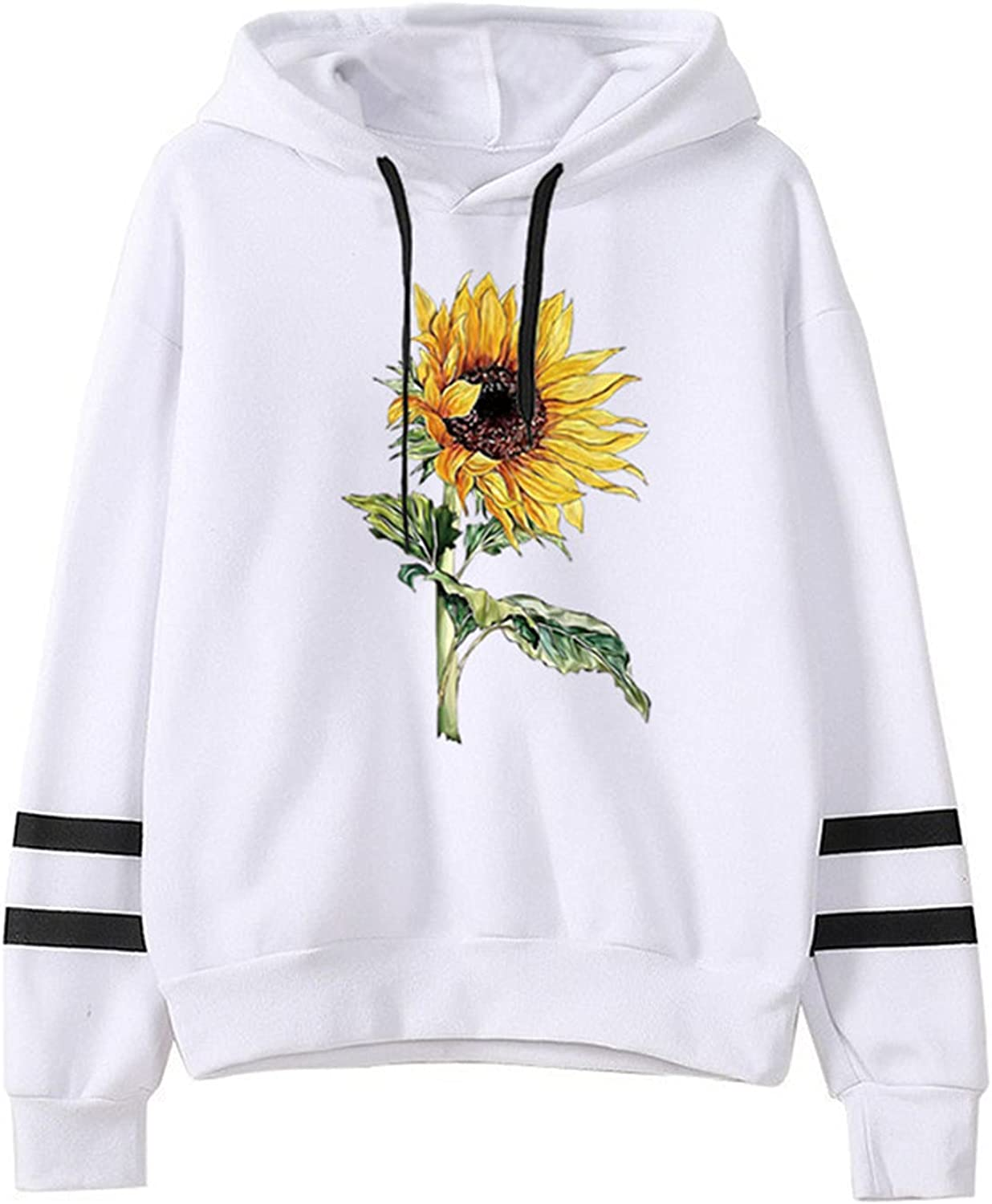 Sunflower Graphic Year-end annual account Hoodie for Shipping included Womens Blouse Long T Striped Sleeve