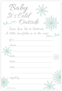 Winter Snowflake Baby Shower Invitations - Baby Its Cold Outside - Fill In Style (20 Count) With Envelopes