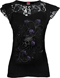 Womens - Entwined Skull - Lace Layered Cap Sleeve Top Black