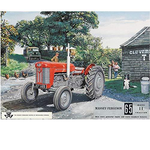 Massey Ferguson 65 - Rouge tracteur sur le farm, mouton chien et Enfants. Vert land rover MK1 MKI dans un arrière sol Landy. Pour maison, Maison, Farm, bar pub ou bar. Métal/Panneau Mural Métalique - 30 x 40 cm