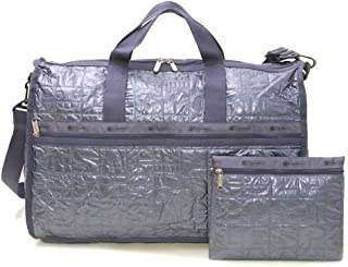 LeSportsac Sterling Foil Large Weekender Crossbody Bag + Cosmetic Bag, Style 7185/Color H042 (Silver Metallic, Debossed LeSportsac Logo Lettering)