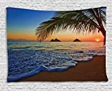 Ambesonne Hawaiian Tapestry, Pacific Sunrise at Lanikai Beach Hawaii Colorful Sky Wavy Ocean Surface Scene, Wide Wall Hanging for Bedroom Living Room Dorm, 80' X 60', Blue Ivory