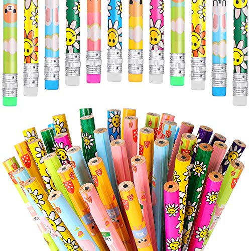 200 Pieces Assorted Colorful Pencils Eraser Tops Pencils Cute School Pencil Set for Office School Children, Cow and Sunflower Patterns Pencil Assortment for Kids