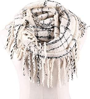 Womens Winter Plaid Infinity Scarf Warm Tassel Circle Loop Scarves & Knit Fall Scarfs for Women