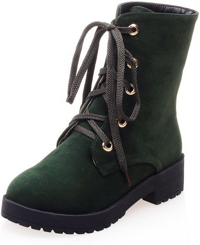 AandN Womens Boots Closed-Toe Lace-Up Kitten-Heel Rubber Waterproof Warm Lining Nubuck Round-Toe Bridal Light-Weight Urethane Boots DKU01870